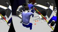 View of a crime scene through a 3D headset: People stand near a victim lying on the ground.