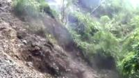 Mudslide on the Paucartambo Highway that leads to the Manu National Park in Peru