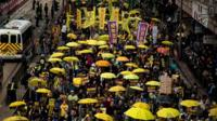 Thousands of pro-democracy activists take part in a democracy march in Hong Kong