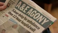 A Newspaper with a story about a delay in A&E care on the cover