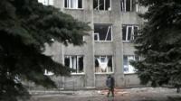 Damaged building in Debaltseve