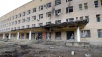"Hospital of Donetsk""s Tekstilshik district after it was hit by a shelling"