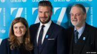 Paloma Escudero, David Beckham and David Bull
