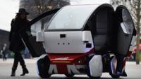 """A driverless """"Lutz Pathfinder"""" pod vehicle in London, Britain, 11 February 2015."""