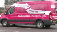 The pink minibus which will visit 70 constituencies to encourage women to vote