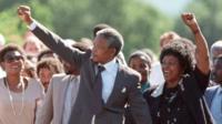 Nelson Mandela walks free from prison