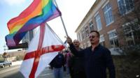 Gay marriage supporters rally in front of Mobile County Probate Court, 9 February 2015
