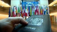 Passport and European flags