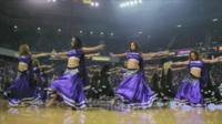 Bollywood dancers at an NBA game
