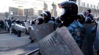Riot police at the protest on Maidan square in Kiev.