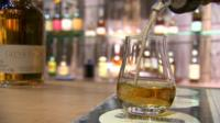 Whisky poured into glass