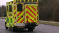 Ambulance carrying British military healthcare worker
