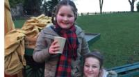 School Reporter Caitlin, 13 from Sacred Heart High School in Newcastle (on right) and her sister Charlotte 10 (on left).