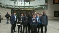Students outside New Broadcasting House