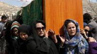 Women carrying coffin of Farkhunda in Kabul