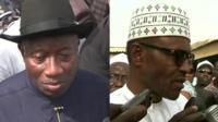 Nigerian presidential candidates Goodluck Jonathan (l) and Muhammadu Buhari (r)