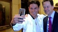 "The Liberal Democrat leader Nick Clegg takes a selfie with Joey Essex from ITV""s The Only Way Is Essex."