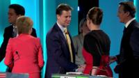 Leaders shake hands at the end of the TV debate