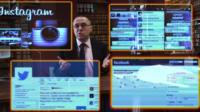 Clive Coleman with social media displays on screens