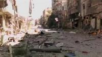 Damaged Yarmouk streets