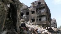 View of damage in Yarmouk