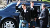 Andy Murray (left) and his brother Jamie Murray (second left) arrive for his wedding at Dunblane Cathedral