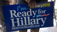 A placard supporting Hillary Clinton