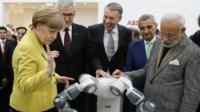 Angela Merkel and Narendra Modi at industrial fair in Hanover
