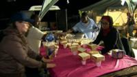 Food at makeshift shelter
