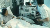 A kidney dialysis patient in an NHS ward in 1982