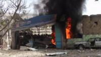 Building on fire in Yemen