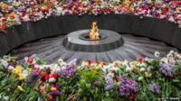 The eternal flame burns at the Armenian genocide memorial on April 24, 2015 in Yerevan, Armenia