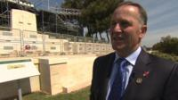 New Zealand PM John Key speaking to the BBC at a memorial to the Anzac troops who died at Gallipoli in 1915