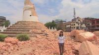 Yogita Limaye at the remains of the Dharahara tower