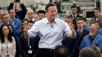 David Cameron addresses workers