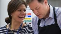 Deputy Prime Minister Nick Clegg and his wife Miriam Gonzalez Durantez help make a crumble at Ivy Lane Primary School