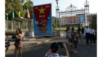 Poster marks fall of Saigon