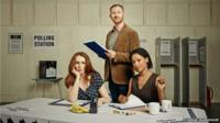 """Catherine Tate, Mark Gatiss and Nina Sosanya in Donmar Warehouse image for production of """"The Vote"""""""