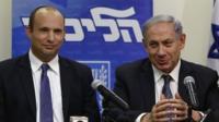 Benjamin Netanyahu, right, and Bayit Yehudi's Naftali Bennett