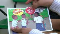 A postcard warning children of the dangers of landmines