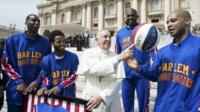 Pope spins basketball