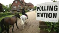 Horse rider and polling station sign