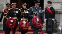 Military gather to lay a wreath during a tribute at the Cenotaph