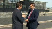 Alun Davies with BBC Wales' Nick Sevini