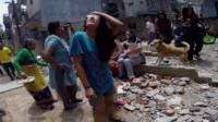 Kathmandu residents amongst the rubble