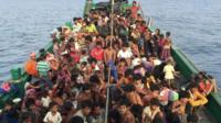 Boat crammed with migrants