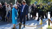 Queen Elizabeth II and Prince Harry attend the annual Chelsea Flower show at Royal Hospital Chelsea