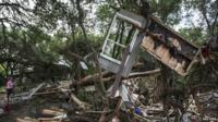 Remains of house damaged in Texas floods