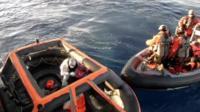 Migrants being rescued in Mediterranean Sea