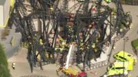 Still from aerial footage of Alton Towers rollercoaster crash
